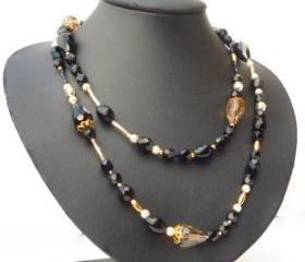 Black and Gold Glamour - vintage style multi-strand necklace