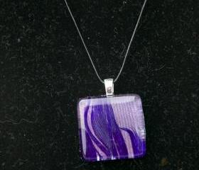 Purple Feather Pendant on Black Cord