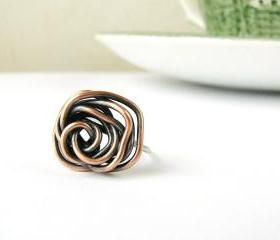 Rose coctail ring . Copper and silver . Modern boho