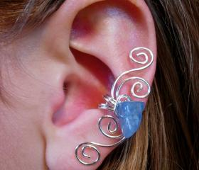 Silver Plated Multi Swirl Ear Cuff with Genuine Blue Aventurine, New Design