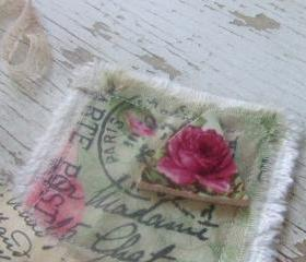 Altered art - MoSAiC canvas tile - French Address and Rose Tile