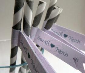 Wedding Favor Straws and Flags - Personalised x 25 - silver and pink wedding favour