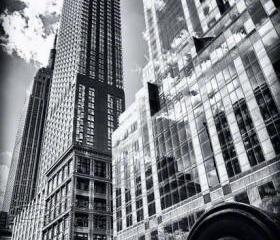 New York City Architecture photo black & white Empire State Bldg skyscrapers 8x12