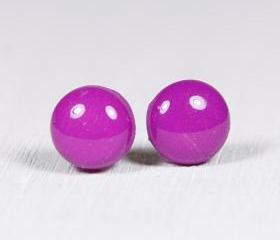 Violet Purple Stud Earrings - Polymer Clay Earrings - Small Posts Earring Jewellery
