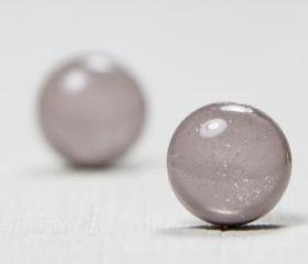 Gray Sparkle Stud Earrings - Post Earrings - Polymer Clay Studs - Fashion Jewelry