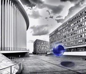 "Abstract photo black & white architecture glass orb blue 12x18"" print"