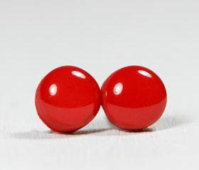 Ruby Red Stud Earrings - Round Studs Earrings - Handmade Polymer Clay Posts Jewelry