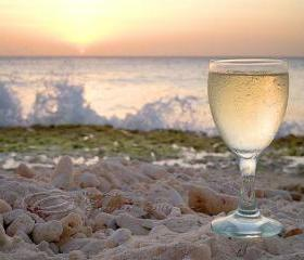 Beach Photo ocean wine home decor sunset print 8x10""