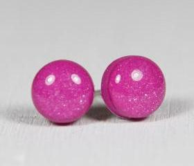 Fuchsia Stud Earrings - Medium Studs Earrings - Pink Purple Handmade Polymer Clay Posts Jewelry