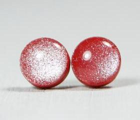 Ruby Red Shimmer Polymer Clay Studs - Post Stud Earrings - Posts Jewelery