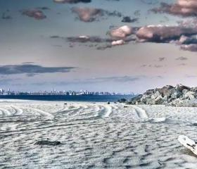 New York City Photography NYC photo beach photo skyline, 8x12