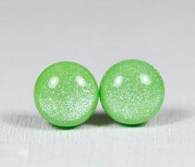 Lime Green Shimmer Studs Earrings - Post Earrings - Polymer Clay Jewelry - Handmade Jewellery