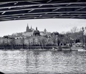 Prague photo Travel Photo black & white photo Charles bridge 8x12&quot;