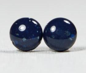 Blue Stone Stud Earrings - Polymer Clay Stud Earrings - Post Earrings Jewelry Jewellery - Posts Studs