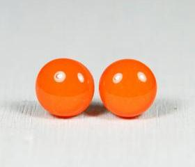 Orange Post Earrings - Studs made of Polymer Clay and Resin - Handmade Jewelry