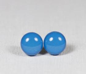 French Blue Stud Earrings -Light Blue Small Post Stud Earrings - Polymer Clay and Resin Jewelry