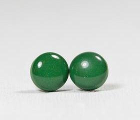 Leaf Green Polymer Clay Resin Stud Earrings - Posts Studs Jewelry Jewellery