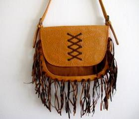 Mexican Tooled Brown Purse With Suede Fringe