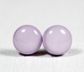 Lilac Purple Stud Earrings - Polymer Clay Earrings - Small Posts Earring Jewellery