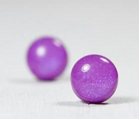Purple Pearl Studs - Polymer Clay Jewelry Earrings - Post Stud Earrings