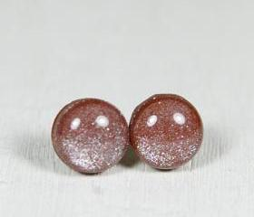 Chocolate Brown Stud Earrings - Skin Tone Studs - Post Earrings - Handmade Polymer Clay Posts Jewelry