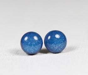 Navy Pearl Stud Earrings -Navy Blue Small Post Earrings - Polymer Clay and Resin Jewelry