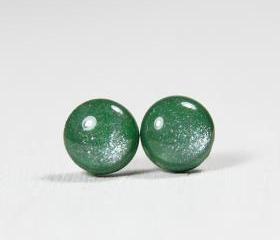 Leaf Green Shimmer Studs - Polymer Clay Resin Stud Earrings - Posts Studs Jewelry Jewellery