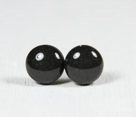 Black Stud Earrings - Small Post Earrings - Polymer Clay and Resin Jewelry