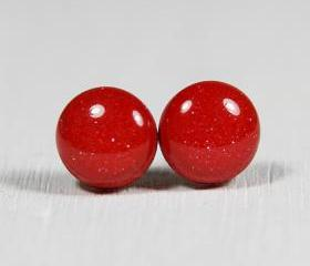 Red Stud Earrings - Medium Studs Earrings - Handmade Polymer Clay Posts Jewelry
