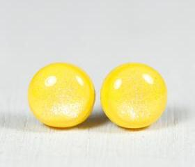 Lemon Sparkle Stud Earrings - Yellow Small Post Earrings - Polymer Clay and Resin Jewelry