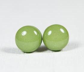 Moss Green Polymer Clay Earrings - Medium Studs - Posts Earrings Jewellery - Handmade Polymer Clay Earrings Jewelry