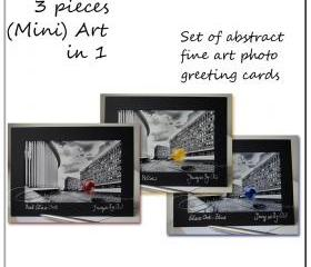 Greeting Card Set Fine art photo black & white abstract 5x7""