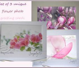 Greeting Card Set photo greeting card pink flower photo 5x7&quot;