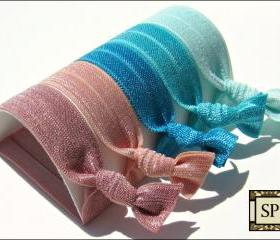 Hair Ties - Sand, Sea & Sky Collection - Set of 5 - Elastic Hair Ties - Sweet Petites