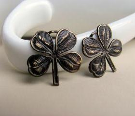 Hand Patina Four Leaf Clover Charms Antiqued Brown