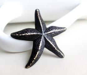 Starfish Pendant Brass Chocolate Brown Patina