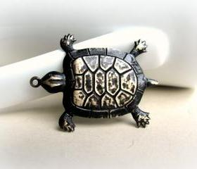 Black Brass Turtle Pendant, Hand Patina