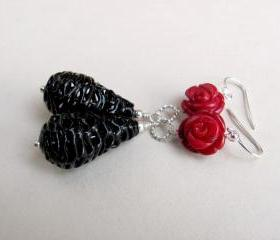 Sterling Silver Vintage Lace Black Bead and Natural Coral Earrings