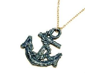 Lace Necklace Hand Dyed - Anchor in Metallic Blue - Ocean Summer Nautical