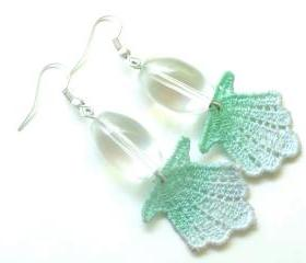 Lace Earrings - Ombre Seashell in Mint and Sea Foam Green - Customizable Colors - Summer Ocean