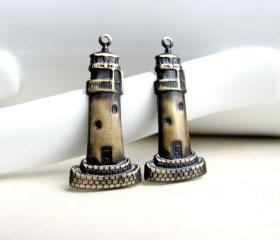 Brass Lighthouse Pendants, Black Patina