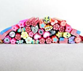 10 pcs of Mixed Polymer Clay Canes, Fimo Clay Nail Art, Scrapbooking Embellishments