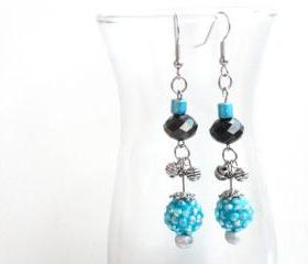 Beaded Crystal Earrings in Blue Silver and Black