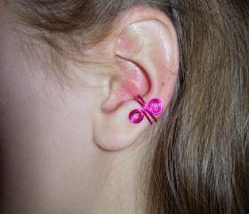 Set of 4 Colorful Ear Cuffs, hot pink, purple, turquoise, and blue