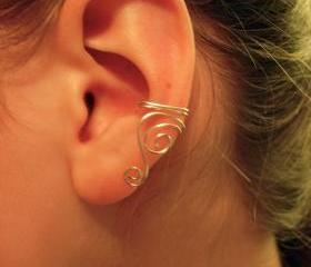 Single Silver Plated Ear Cuff with swirls 