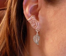 Pair of Silver Plated Ear Cuffs with Antiqued Silver Leaf Accent Beads