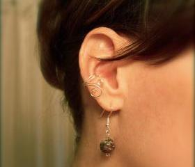 Asymmetrical Ear Cuff Set Silver Plated Swirls Galore 