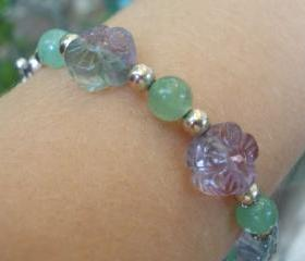 Natural Fluorite bracelet, flowers and sterling silver, semi precious gemstone and silver bracelet Romantic lavender purple green stones