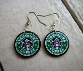 Starbucks to go. Starbucks earrings. Coffee earrings. Green earrings. Ephemera earrings. Wood tile. 1x1 inch round. Latte. Mocha. Coffee.