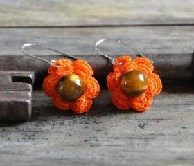 Flower Earrings with Gemstone Bead